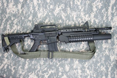 M4A1 carbine equipped with an M203 grenade launcher Royalty Free Stock Photography
