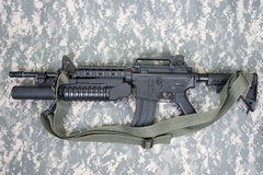 M4A1 carbine equipped with an M203 grenade launcher Stock Images