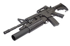 An M4A1 carbine equipped with an M203 grenade launcher Stock Photo