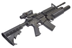 An M4A1 carbine equipped with an M203 grenade launcher Stock Image