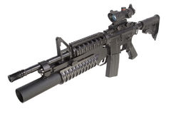 An M4A1 carbine equipped with an M203 grenade launcher Royalty Free Stock Image