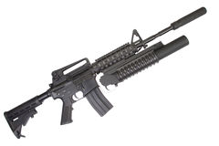 M4A1 carbine with silencer equipped with an M203 grenade launcher Royalty Free Stock Photography