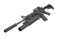 M4 carbine with silencer equipped with an M203 grenade launcher Stock Photography