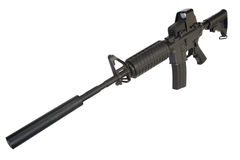 M4 carbine with silencer isolated on a white Stock Images