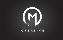 M Circular Letter Logo with Circle Brush Design and Black Backgr. Ound Royalty Free Stock Photos