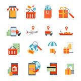 M-commerce Icons Set Royalty Free Stock Images