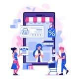 M Commerce Illustration med folk på shopping vektor illustrationer
