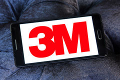 3m company logo. Logo of 3m company on samsung mobile. 3m company produces adhesives, abrasives, laminates, passive fire protection, dental and orthodontic Stock Photography