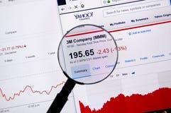 3M Company ticker med diagram Arkivbilder