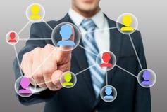 Mężczyzna ręki odciskania kontakt na wirtualnym ekranie obraz royalty free