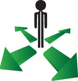 Mężczyzna z jaki kierunku wyborem ilustracja wektor