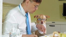 M??czyzna z psem przy sto?em je Przyja?? m??czyzna i zwierz? domowe Biznesmena poj?cie zbiory