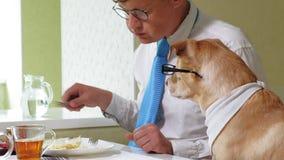 M??czyzna z psem przy sto?em je Przyja?? m??czyzna i zwierz? domowe Biznesmena poj?cie zdjęcie wideo