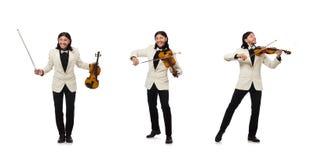 M??czyzna z skrzypce bawi? si? na bielu zdjęcie royalty free