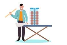 M??czyzny architekta mienia pozioma in?ynier pracuje z nowym budynku miasta modelem dla miastowego panning projekta poj?cia domu ilustracja wektor