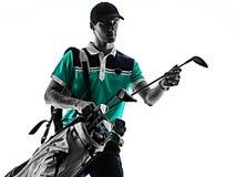 M??czyzny Golfowy golfista gra? w golfa odizolowywaj?cego cie? sylwetki bielu t?o fotografia stock