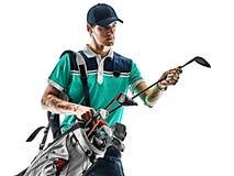 M??czyzny Golfowy golfista gra? w golfa odosobnionego bia?ego t?o obraz royalty free