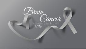 M??d?kowego nowotworu ?wiadomo?ci kaligrafii Plakatowy projekt Realistyczny Popielaty faborek Maj jest nowotw?r ?wiadomo?ci miesi ilustracja wektor