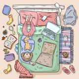 M?dchen, das auf dem Bett z?gert Gro?e Verwirrung zu Hause Komisches Artbild Beschneidungspfad eingeschlossen vektor abbildung