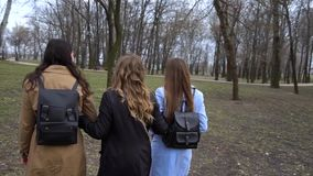M?dchenhafte Freundschaft Drei junge sch?ne M?dchen gehen in den Stadtpark Sie sind gl?cklich M?dchen sind gl?cklich sich zu tref stock footage
