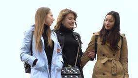 M?dchenhafte Freundschaft Drei junge sch?ne M?dchen gehen um die Stadt Sie sind gl?cklich M?dchen sind gl?cklich sich zu treffen  stock video