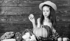 M?dchenkinderbauernhofmarkt mit Fallernte Kinderlandwirt mit h?lzernem Hintergrund der Ernte Familienbauernhof-Festivalkonzept Ba stockfotografie