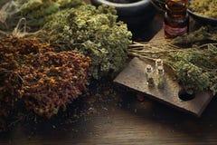 M?decine de Herbal de Herbalist et m?decine naturelle Rem?des de fines herbes traditionnels photographie stock