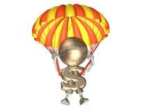 M. dollar saute avec un parachute Photographie stock libre de droits