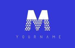 M Dotted Letter Logo Design con el fondo azul Foto de archivo