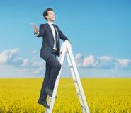 Mądrze biznesmena pozycja na drabinie Zdjęcia Stock