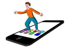mądrze dziecko telefon ilustracji