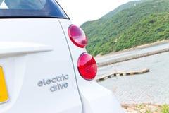 Mądrze fortwo elektryczna prowadnikowa etykietka Zdjęcia Stock