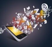 Mądrze telefon emituje listy, liczby i dym, Zdjęcia Royalty Free