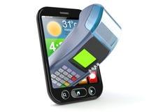 Mądrze telefon z kredytowym czytnikiem kart Zdjęcia Royalty Free