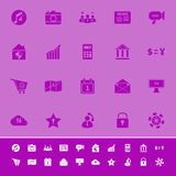 Mądrze telefonu koloru ikony na purpurowym tle Zdjęcie Stock