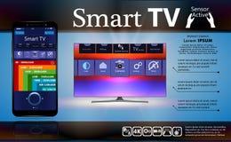 Mądrze TV jest na stole Mądrze TV interfejs Smartphone jest pilotem dla mądrze TV Interfejs dla Smartphone app 3d wektor ilustracja wektor