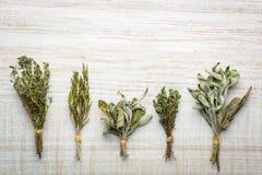 Mędrzec, macierzanki i rozmarynów Kulinarni ziele, Zdjęcia Royalty Free