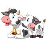 M?e bonito da vaca com vitela do beb? ilustração stock