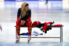 500 m-Eisschnelllauffrau Stockfoto