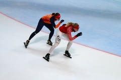500 m-Eisschnelllauffrau Stockfotos