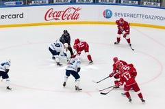 M. Ellison (10) and R. Horak (15) on faceoff. PODOLSK - OCTOBER 30, 2016: M. Ellison (10) and R. Horak (15) on faceoff on hockey game Vityaz vs Dynamo Minsk on Royalty Free Stock Images