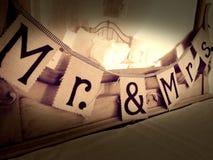 M. et de Mme Bayard Cutting Bannière de mariage Images libres de droits