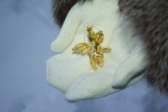 Glittering angel in mittens. Idea of merry and happy new stock images