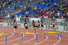400 m fence woman race. On Diamond League in Rome, Italy in 2016 stock photos