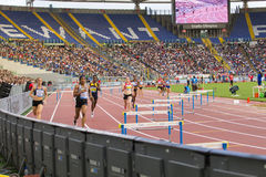 400 m fence woman race. On Diamond League in Rome, Italy in 2016 royalty free stock photography