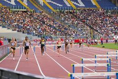 400 m fence woman race. On Diamond League in Rome, Italy in 2016 stock photography