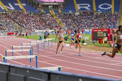 400 m fence woman race. On Diamond League in Rome, Italy in 2016 stock image