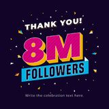 8m followers, eight million followers social media post background template. Creative celebration typography design with confetti. Ornament for online website vector illustration