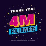 4m followers, four million followers social media post background template. Creative celebration typography design with confetti o. Rnament for online website royalty free illustration