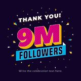 9m followers, nine million followers social media post background template. Creative celebration typography design with confetti o. Rnament for online website royalty free illustration
